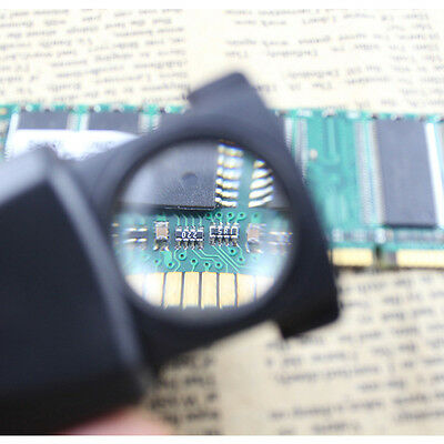 30X Pocket Magnifier Microscope Jewelry Loupe Glass LED Currency Light Hot New