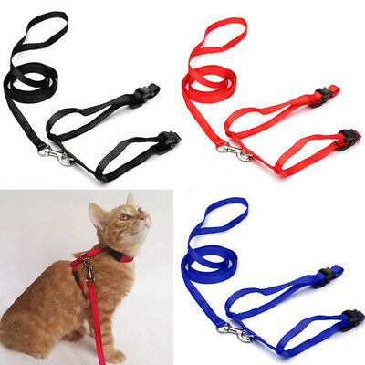 Leash Pet Lead Strong Rope Cat Safety Black Nylon Cute Harness Adjustable Animal
