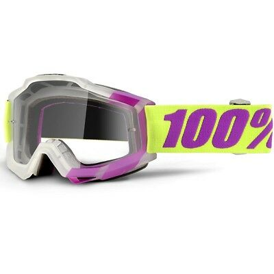 100% Percent NEW Mx Accuri Tootaloo Clear Lens Yellow Purple Motocross Goggles