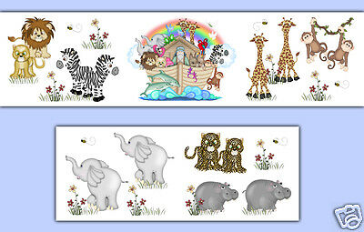 Noahs Ark Wallpaper Border Wall Art Decals Baby Girl Boy Animal Nursery Stickers
