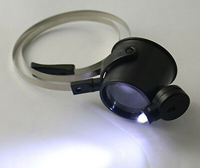 Fashion 15X Lens Head Band Magnifier Glass Visor 2-LED Light Magnifying Loupe