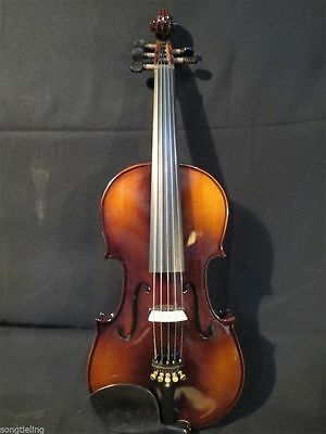 "Guarneri Style brown Color 5strings electric & acoustic viola 15"". good sound"