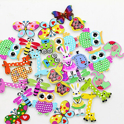 50X Cartoon Animal 2 Holes Wooden Buttons Sewing Craft Scrapbooking Diy Classy