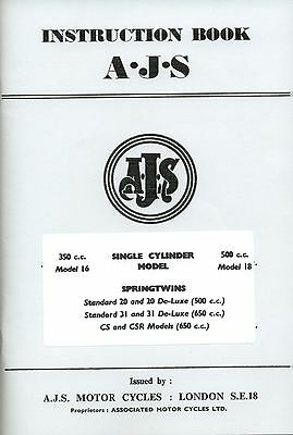 AJS Instruction Manual 20 31 de luxe CS CSR 16 18 Manual and Matchless G3L Book