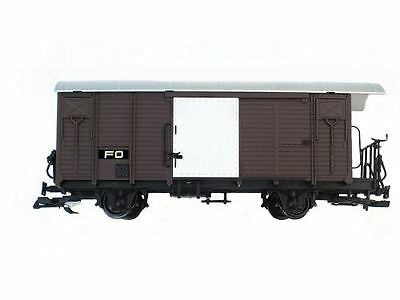 Train Covered Goods Wagon, brown, FO, G Scale, fits LGB RHB Models