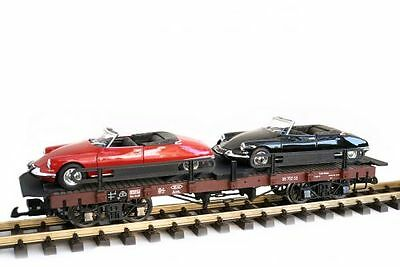 Zenner Car carrying truck Citroen DS Cabriolet,G Scale,Bachmann Flat wagon;