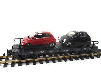 Zenner Car carrying truck with 2 Fiat 500, Bachmann Flat wagon, G Scale