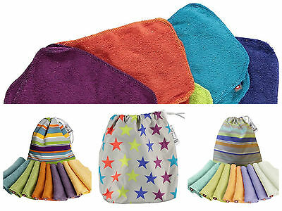 Close Parent Pop In Bamboo Baby Reusable Washable Wipes BRIGHT, STARS or PASTEL