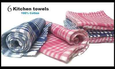 """6 Kitchen towels set 100% Cotton Blue / Red 27""""X15"""" Hand drying towel tea dish"""