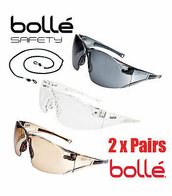 2 Pairs Bolle Rush Safety Glasses Clear, Smoke & Twighlight Lense C/W Free Strap