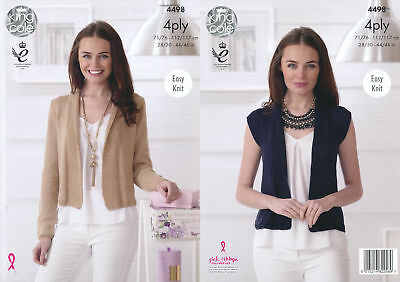Easy Knit Ladies Cardigan Waistcoat King Cole Womens 4Ply Knitting Pattern 4498