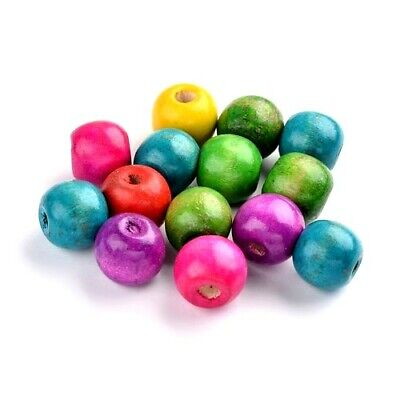 Packet of 50+ Mixed Wood 13mm Plain Round Beads HA23335