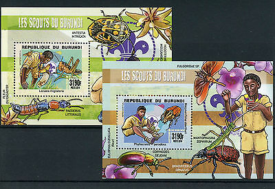 Burundi 2014 MNH Scouting Insects 2x Deluxe S/S Scouts Beetles Locusts