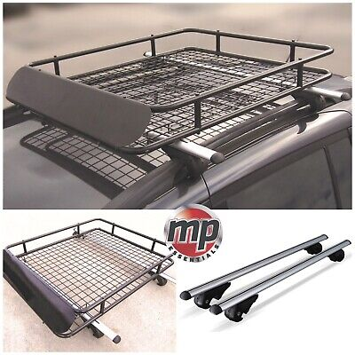 Lockable 120cm Aluminium Roof Rail Bars & Roof Rack Tray for Jeep Cherokee 01-04