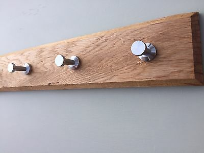Modern Wooden Coat Rack Handmade Solid Oak 2 to 10 Stainless Steel Hooks Pegs