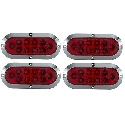 "6"" Red Oval LED Surface Mount Stop Lamp Turn Signal Tail Light Chrome Bezel 4pk"