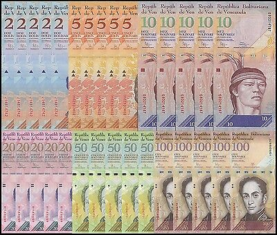 Venezuela 2 - 100 Bolivares  6 Pieces (PCS) X 5 Set, 2007-2016, P-88-93, UNC