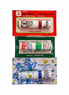 3 PCS POY SIAN PEPPERMINT SIANG PURE Inhaler relief nasal congestion flu dizzy