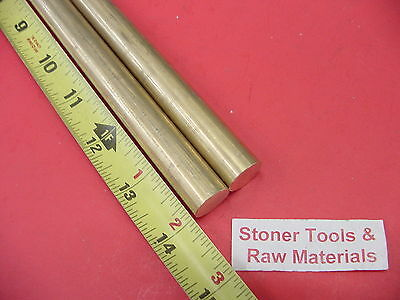 "2 Pieces 5/8"" C360 BRASS ROUND ROD 14"" long Solid New Lathe Bar Stock .625"" OD"