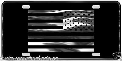 Subdued US Flag License Plate American Flag Chrome and Regular Vinyl Choices