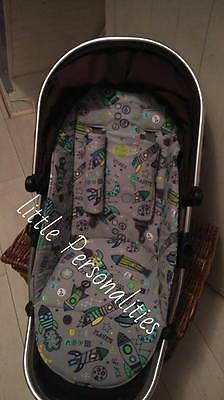 boys vehicle car  icandy peach pram pushchair liner and harness pads foam padded