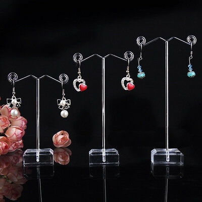 3pcs New Acrylic Metal Tree Earring Necklace Jewelry Display Stand Rack Holder
