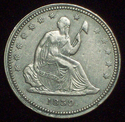 1839 Seated QUARTER Dollar *SILVER* - Nice XF+/AU Detailing *RARE* Authentic 25C