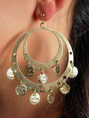 ETHNIC TRIBAL GYPSY BELLY DANCER Womens Gold Plated Coin DANGLE EARRINGS SET New