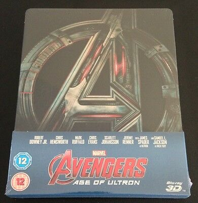 AVENGERS AGE OF ULTRON 3D Blu-Ray SteelBook Zavvi UK Marvel New OOP & Rare! READ