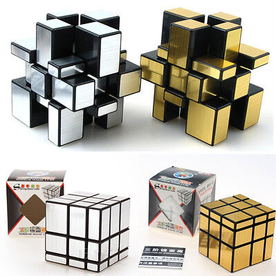 3x3x3 Magic Cube Pro Puzzle Ruler Mirror Intelligence Game KidsToy Gold Silver