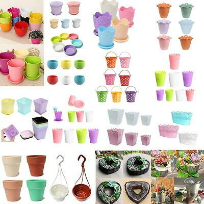Variety Colourful Home Office Planter Round Plastic Plant Flower Pot Garden