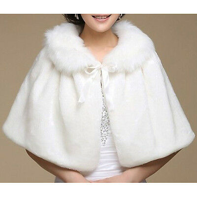 Winter Ivory Shawl Women's Wedding Evening Party Wrap Faux Fur UK