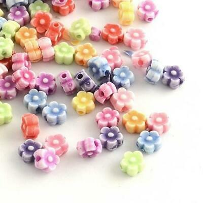 Packet 60+ Mixed Acrylic 4 x 6mm Flower Beads HA25190