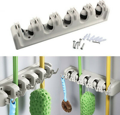 Garden Tool Mop Rake Broom Holder Storage Tidy Organiser Shed Garage Wall Rack
