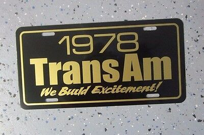 1978 Pontiac Trans Am Bandit gold & black special edition License plate tag 78