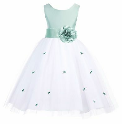 Sage Green Rosebud Flower Girl Dress Wedding Bridesmaid Formal Pageant Birthday