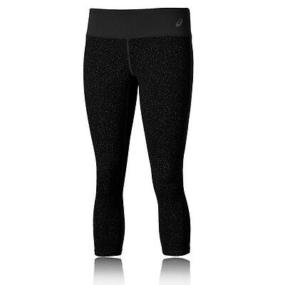 Asics Graphique Femmes Noir Capri Running Sport Leggings Collants Corsaire Gym