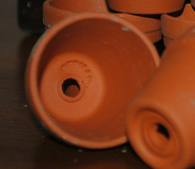 """Lot of 35 Small Terra cotta pots from Germany 2"""" high CRAFT GARDEN HERBS WEDDING"""