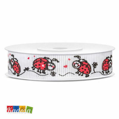 Rotolo Nastro Gross Grain COCCINELLA 15 mm x 10 mt - Wedding Bomboniere Ladybug