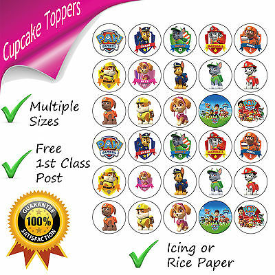 Paw Patrol Cupcake Toppers Edible Birthday Party Cupcake Decorations