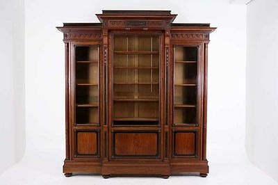 (301-096) SALE! Colossal Antique French Victorian Mahogany Breakfront Bookcase