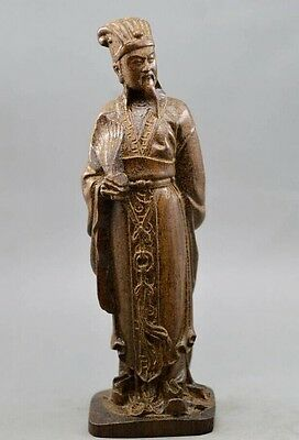 Chinese antique agalloch eaglewood wood hand-carved 诸葛亮statue Liang zhuge