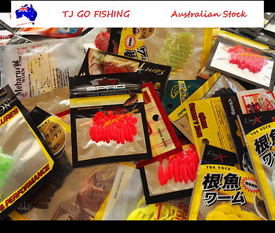 5X Assorted Soft Plastics Lures PackS, WORMS GRUBS Fresh Saltwater Fishing Lures