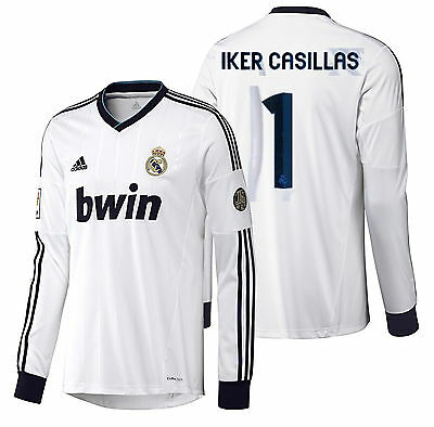 4f6737bb0 ADIDAS IKER CASILLAS Real Madrid Long Sleeve Home Jersey 2012 13 ...
