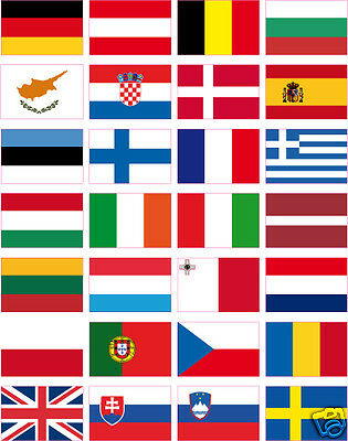 "28 country stickers in vinyl ALL THE FLAGS EUROPA 35x25 mm (1""x1.5"")"