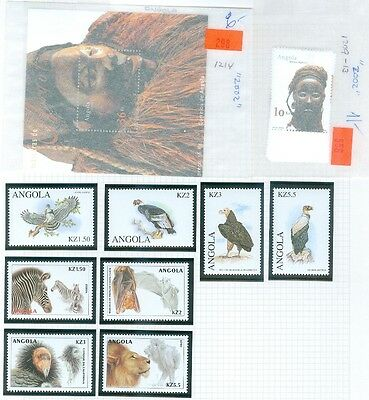 ANGOLA : Beautiful collection. All VF MNH. Topicals Animals, Native Art. Cat $42
