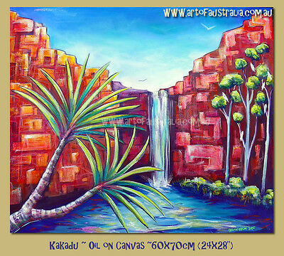 DEBORAH BROUGHTON ART Original Oil Painting - Kakadu Waterfall Australia