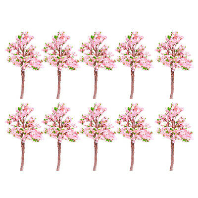 10pc Pink flower Model Tree Railway Train Diorama Garden Scenery OO HO Scale