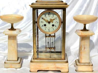 Art-Deco French Marble Garniture Four Glass 8 Day Crystal Regulator Clock Set