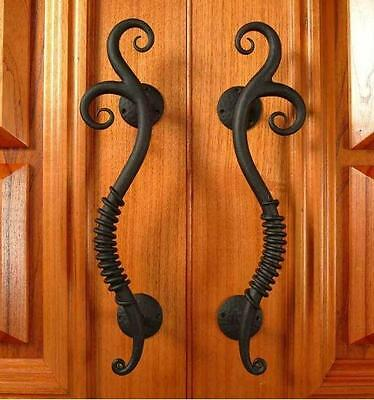Wrought Iron large Black Entry Door Pull Handles 480mm /19 inch 1Pair(2handles)